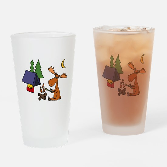 Funny Moose Camping Drinking Glass