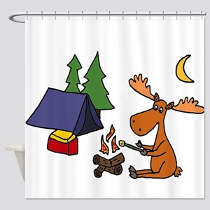 Funny Moose Camping Shower Curtain