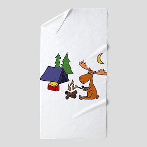 Funny Moose Camping Beach Towel