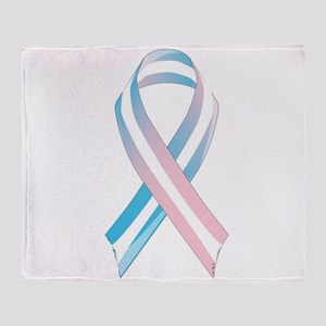 Transgender Awareness Ribbon Throw Blanket