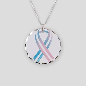 Transgender Awareness Ribbon Necklace Circle Charm