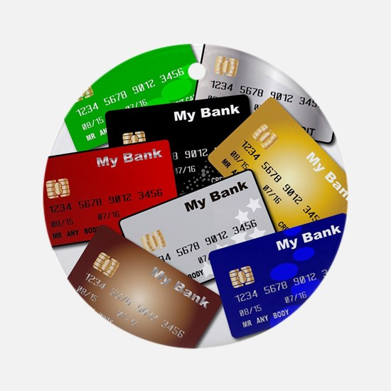 Debit and Credit Cards Round Ornament