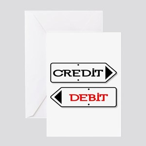 Credit Debit Arrows Greeting Cards