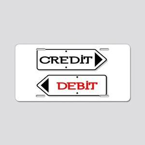 Credit Debit Arrows Aluminum License Plate