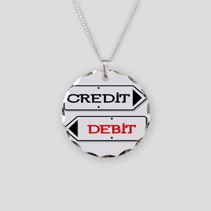 Credit Debit Arrows Necklace Circle Charm