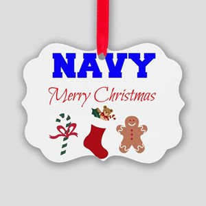Navy Merry Christmas Ornament