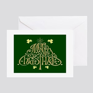 Merry Christmas Tree (Green) Cards (Pk of 10) Gree