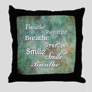 Breathe Smile Breathe Meme Throw Pillow