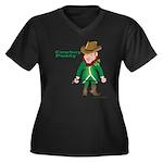Cowboy Paddy Women's Plus Size V-Neck Dark T-Shirt