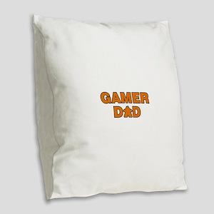 Gamer Dad Orange Burlap Throw Pillow