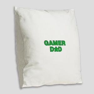 Gamer Dad Green Burlap Throw Pillow