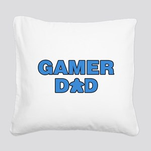 Gamer Dad Blue Square Canvas Pillow