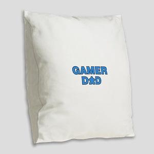 Gamer Dad Blue Burlap Throw Pillow