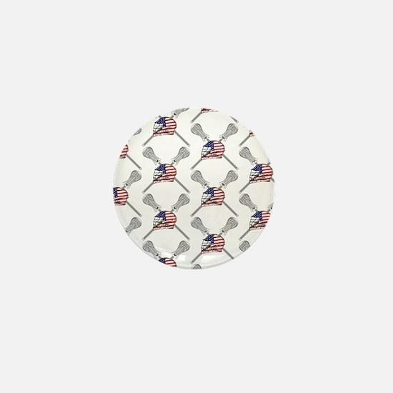 American Flag Lacrosse Helmet Pattern Mini Button