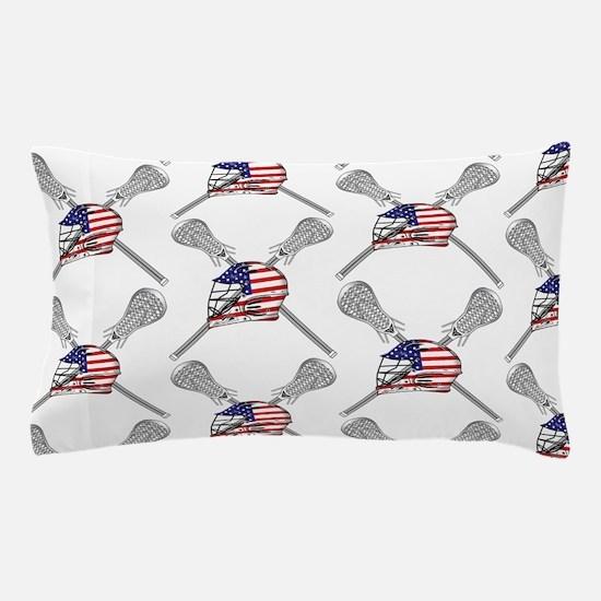 American Flag Lacrosse Helmet Pattern Pillow Case
