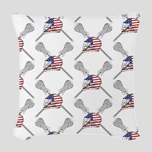 American Flag Lacrosse Helmet Pattern Woven Throw
