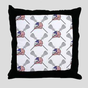 American Flag Lacrosse Helmet Pattern Throw Pillow