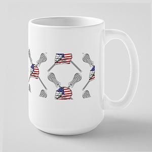 American Flag Lacrosse Helmet Pattern Mugs