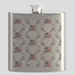 American Flag Lacrosse Helmet Pattern Flask