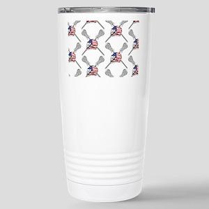 American Flag Lacrosse Helmet Pattern Travel Mug
