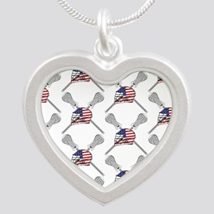 American Flag Lacrosse Helmet Pattern Necklaces