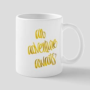 Adventure Awaits Gold Faux Foil Metallic Glit Mugs