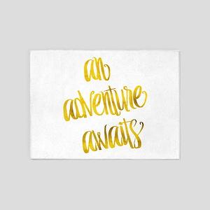 Adventure Awaits Gold Faux Foil Met 5'x7'Area Rug