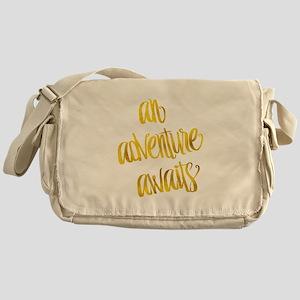 Adventure Awaits Gold Faux Foil Meta Messenger Bag