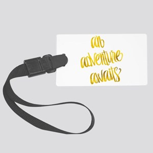 Adventure Awaits Gold Faux Foil Large Luggage Tag