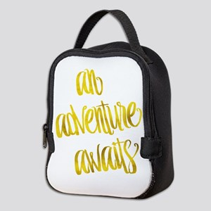 Adventure Awaits Gold Faux Foil Neoprene Lunch Bag