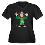 Aussie Paddy Women's Plus Size V-Neck Dark T-Shirt