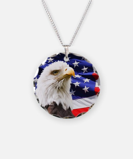 American Flag with Eagle Necklace