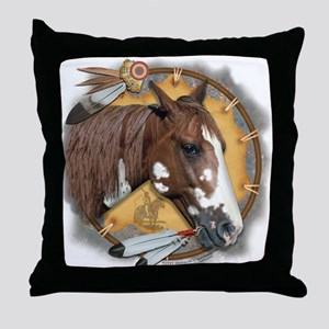 War Pony With Shield Throw Pillow