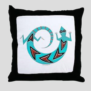 Native American Spinning Lizard Throw Pillow