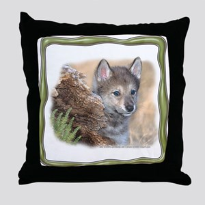 Little Brother Wolf Throw Pillow