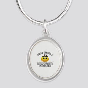 Taekwondo Fighter Designs Silver Oval Necklace