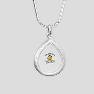 Taekwondo Fighter Design Silver Teardrop Necklace