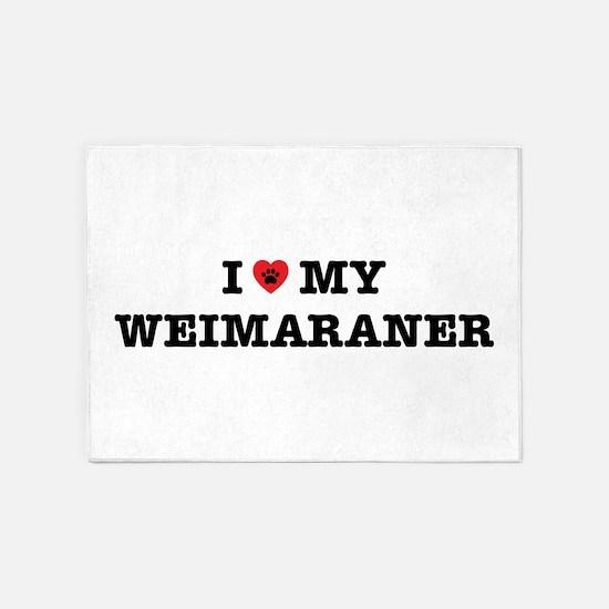 I Heart My Weimaraner 5'x7'Area Rug