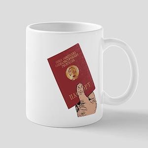Holding Soviet Passport Mugs