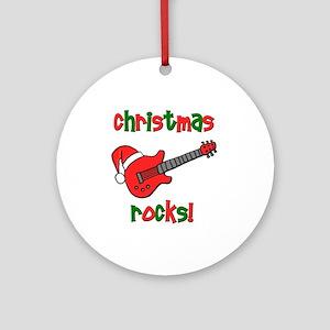 Christmas Rocks! Guitar Santa Ornament (Round)