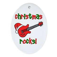 Christmas Rocks! Guitar Santa Oval Ornament