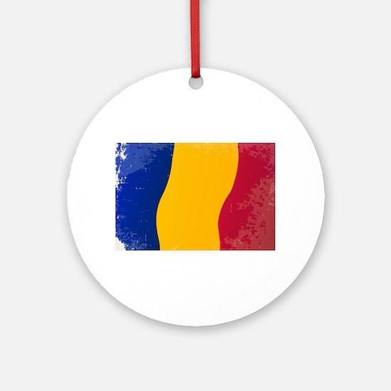 Chad Flag Grunge Round Ornament
