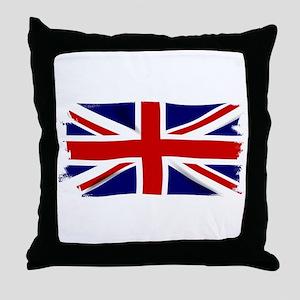 Union Jack Grunge Throw Pillow