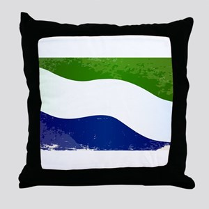 Sierra Leone Flag Grunge Throw Pillow