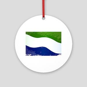 Sierra Leone Flag Grunge Round Ornament