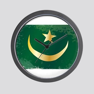 Mauritania Flag Grunge Wall Clock