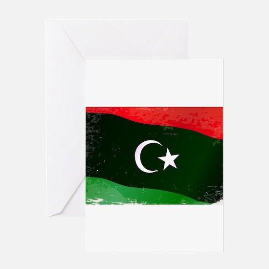 Libya Flag Grunge Greeting Cards