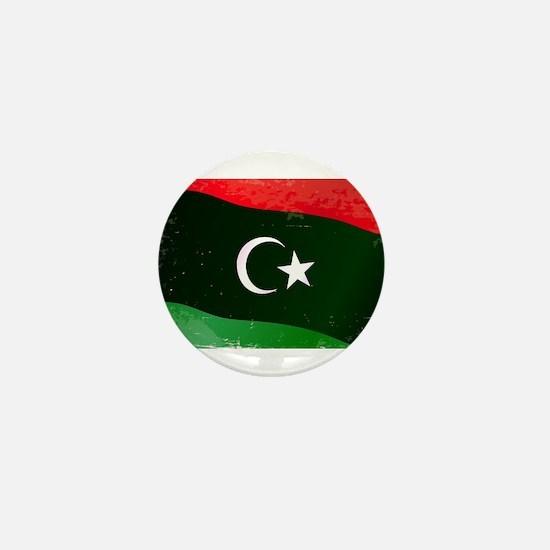 Libya Flag Grunge Mini Button