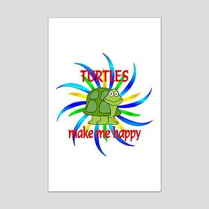 Turtles Make Me Happy Mini Poster Print