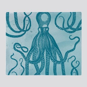 Antique Octopus on Background Throw Blanket